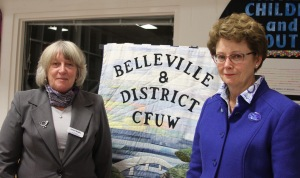 Lenore Begley, CFUW Belleville & District President greets Robin Jackson, Executive Director of CFUW, National