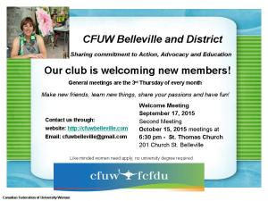 CFUW Welcome Poster 2015